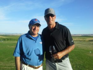 The Wine Novice, Jim Campanini, with Drew Bledsoe at the Wine Valley Golf Club in Walla Walla.