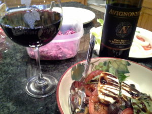 Avignonesi Vino Nobile di Montepuliciano is enjoyed with a caprese salad.